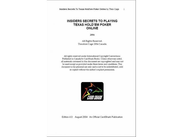Free Book - Insider Secrets To Playing Texas Hold'em Poker Online